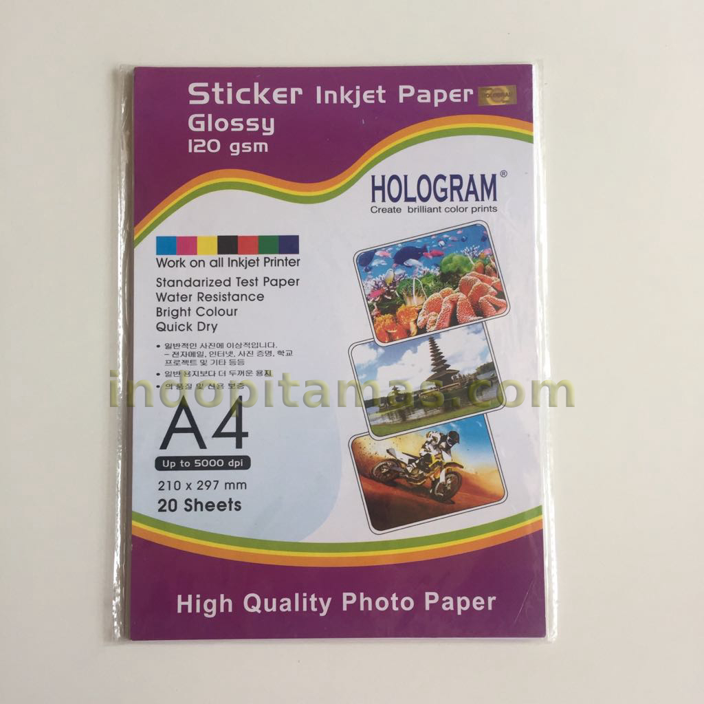 Glossy sticker paper-kertas stiker photo inkjet A4 120 gsm (isi 20)